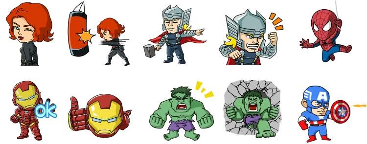 Descarga los stickers de WeChat con los Súper Héroes de Marvel gratis - stickers-wechat-marvel