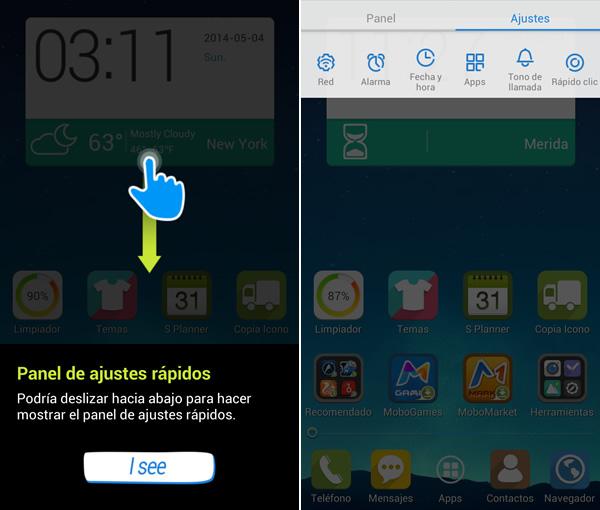 Mobolive, te permite personalizar tu android y aplicarle temas [Reseña] - mostrar-ajustes-rapidos-mobolive