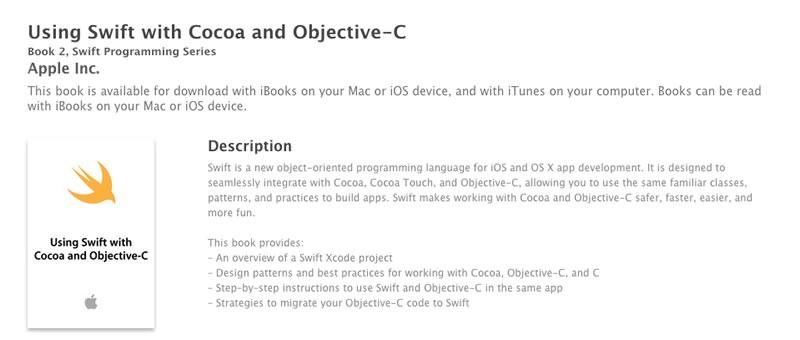 """Nuevo libro de Swift disponible gratis en iTunes """"Using Swift with Cocoa and Objective-C"""" - libro-de-swift-using-swift-with-cocoa-and-objetive-c"""