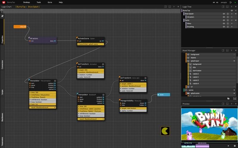 WiMi5, una plataforma para crear juegos HTML5 gratis - editor-de-logica-wimi5