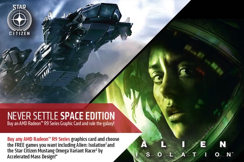 AMD Radeon R9 285 es lanzada junto con un pack de juegos - Never-Settle-Space-Edition