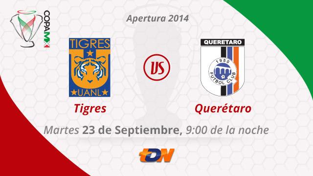 Tigres vs Querétaro por internet, Copa MX Apertura 2014 (Vuelta) - Tigres-vs-Queretaro-en-vivo-Copa-MX-Apertura-2014