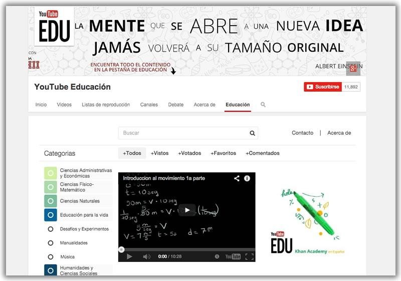YouTube lanzó YouTube EDU en español con más de 22,000 videos educativos - YouTube-EDU-Videos-educativos