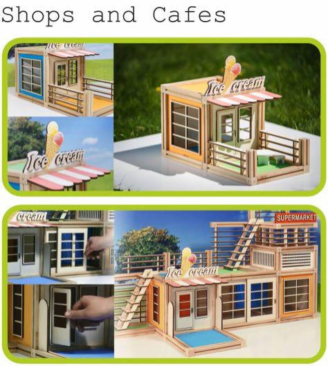 WoodyMac, el set de bloques de construcción de madera con imanes que te encantará - WoodyMac-Shops-and-cafes