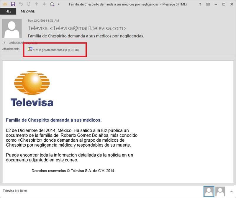 Detectan nueva campaña maliciosa que utiliza la muerte de Chespirito - Malware-Chespirito-Correos-Televisa