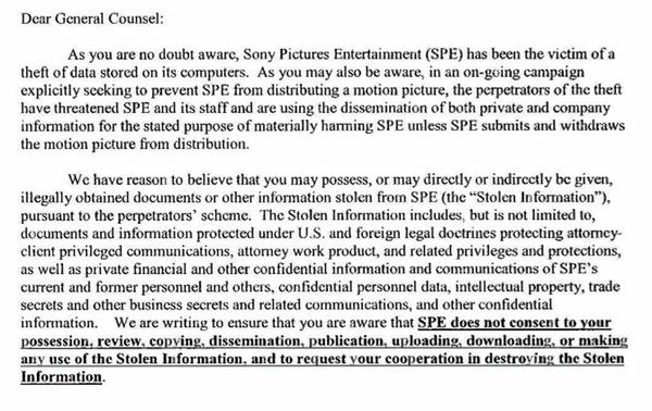 Sony Pictures pide a los medios que ya no publiquen información filtrada - carta-sony-hackeo