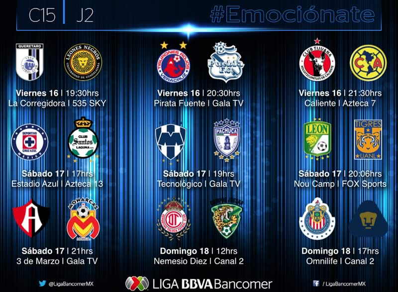 Partidos de la jornada 2 del clausura 2015 y sus horarios - Partidos-de-la-Jornada-2-del-Clausura-2015