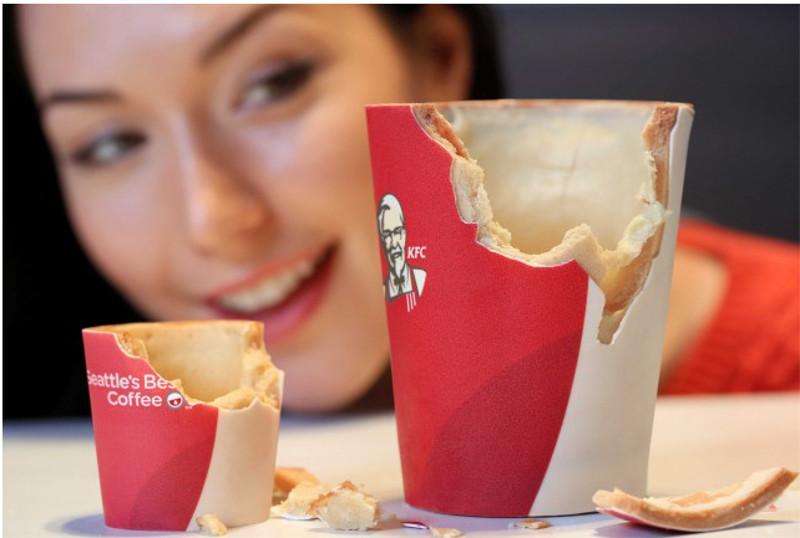En KFC Reino Unido han lanzado unos vasos de café comestibles - KFC-vasos