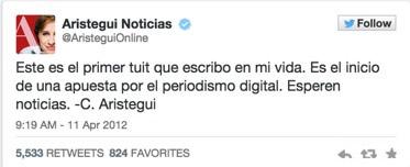 Twitter cumple 9 años y hace un repaso de su historia en tweets - Primer-Tweet-Carmen-Aristegui