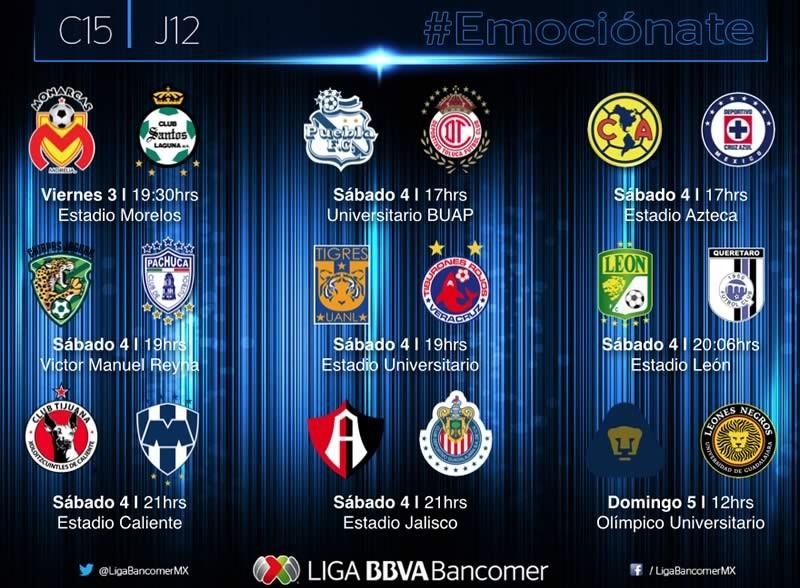 Partidos de la Jornada 12 del Clausura 2015 y por dónde verlos - Horarios-de-Partidos-de-la-Jornada-12-del-Clausura-2015-800x588