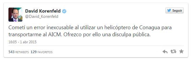 Director de CONAGUA se disculpa por uso de Helicóptero oficial para fines personales - TwwetConagua01
