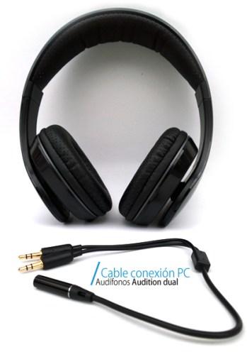 Audífonos con micrófono Audition Dual de Ackteck - cable-conexion-PC-audifonos-acteck