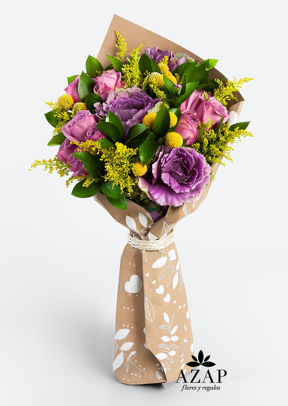 Plataforma online de envío de flores y regalos se expande a Estados Unidos - ramo-rosas-purpura-flores-a-domicilio-azap