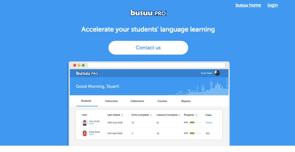 busuu PRO, solución de aprendizaje de idiomas para escuelas, universidades y empresas - busuu-pro_frontpage