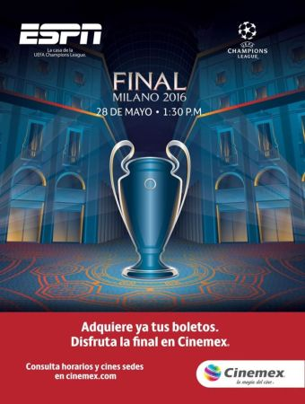Ve la final de Champions League 2016 en Cinemex con transmisión de ESPN