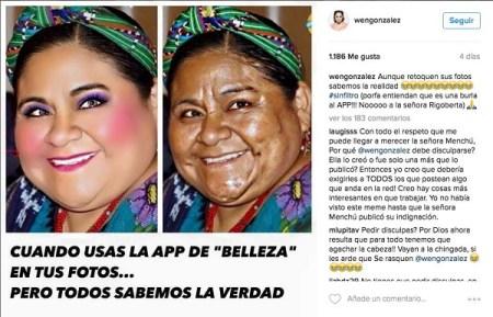 Rigoberta Menchú exige disculpas por burla en Instagram