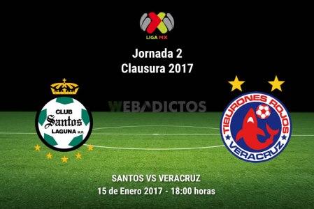 Santos vs Veracruz, Jornada 2 del Clausura 2017 | Resultado: 2-1