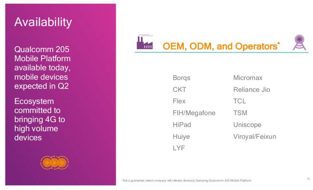 qualcomm 205 partners La plataforma Qualcomm 205 busca llevar 4G a todos