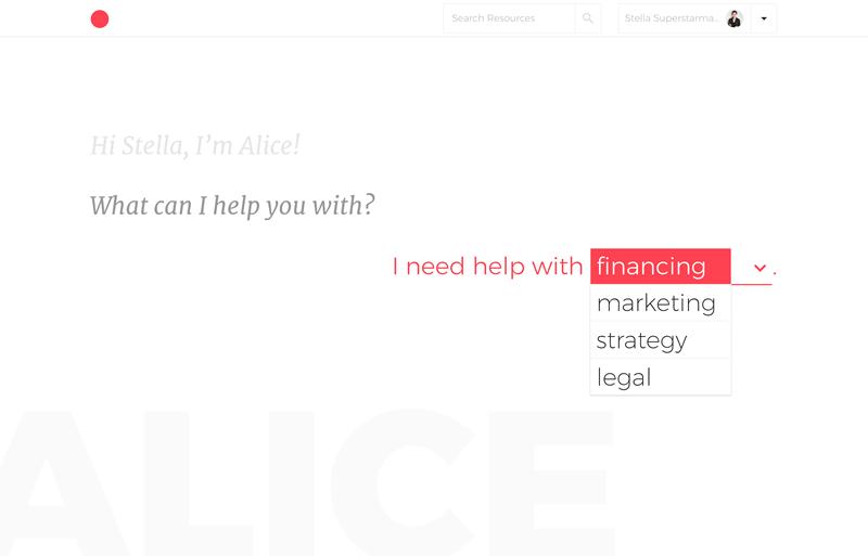 alice category dropdown Hello Alice: el primer asesor virtual basado en IA para mujeres emprendedoras