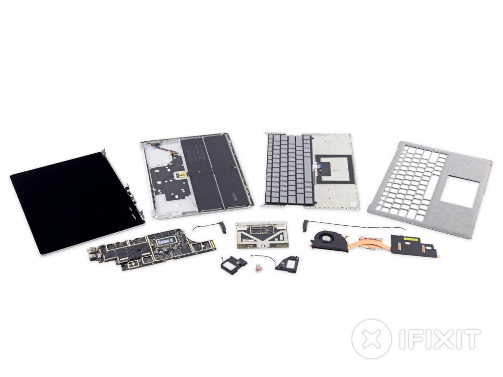 La Microsoft Surface Laptop es calificada de irreparable - ifixit-surface-lap-dissambled