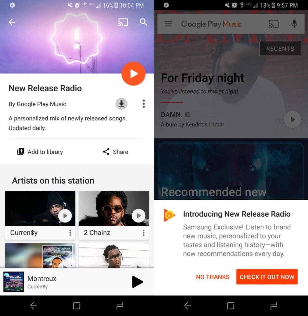 La característica (no tan) exclusiva de Google Play Music para smartphones Samsung - new-releases-radio