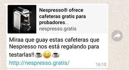 Campaña fraudulenta en WhatsApp ofrece prueba gratuita de cafetera Nespresso - campancc83a-fraudulenta-en-whatsapp-ofrece-prueba-gratuita-de-cafetera-nespresso_1