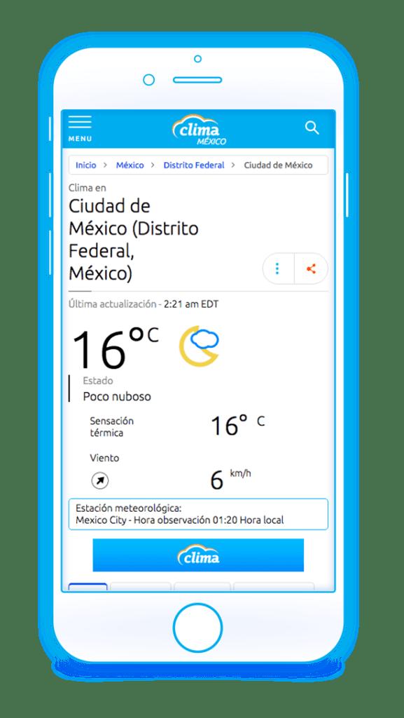 Lanzamiento de CLIMA México, servicio meteorológico digital en español - clima-mexico_iphone_v2