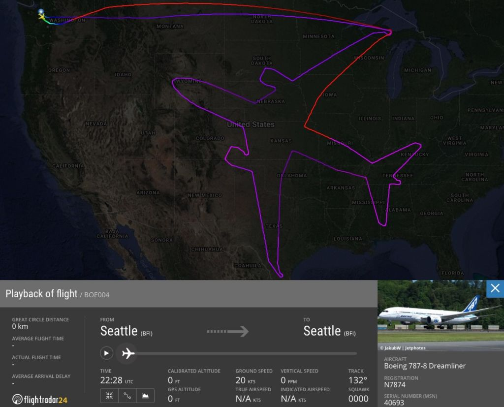 Boeing vuela 17 horas y se dibuja a sí mismo — Impresionante