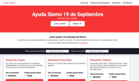 ¿Cómo Ayudar?: el repositorio para encontrar formas de apoyo a los afectados del sismo en CDMX, Morelos y Puebla