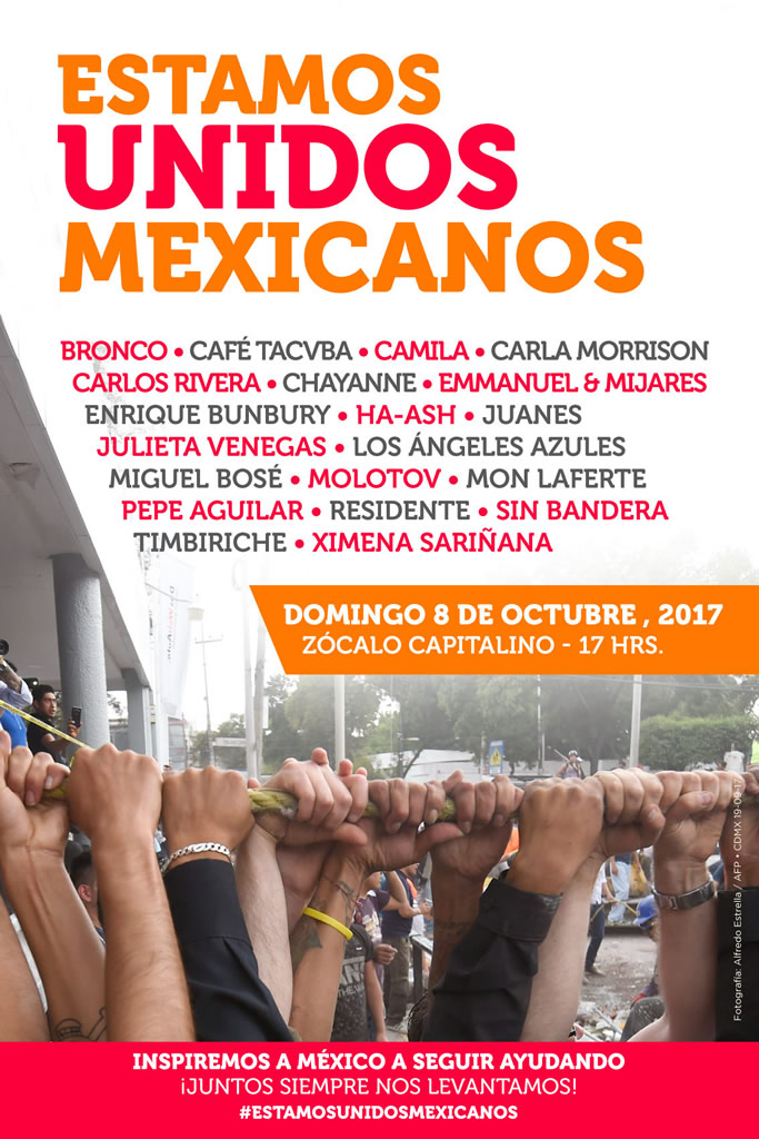 Estamos Unidos Mexicanos, el concierto para apoyar a México - estamos-unidos-mexicanos-cartel