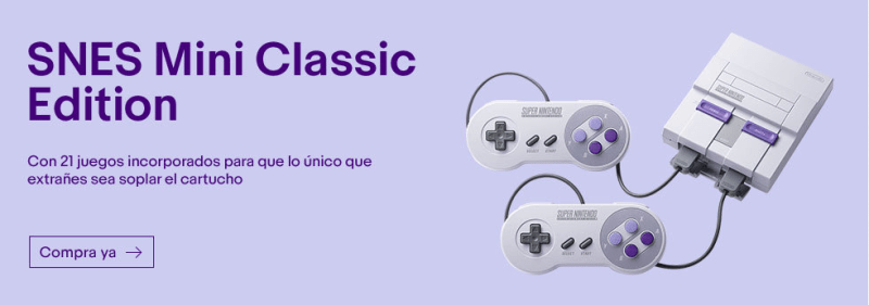 Nintendo Classic Mini SNES ¡ya disponible en eBay! - nintendo-snes-mini-800x281