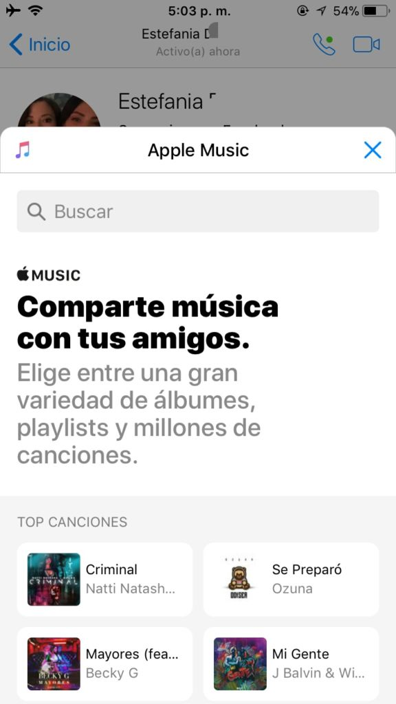 Apple Music ahora disponible dentro de Facebook Messenger - img_20171005_172207