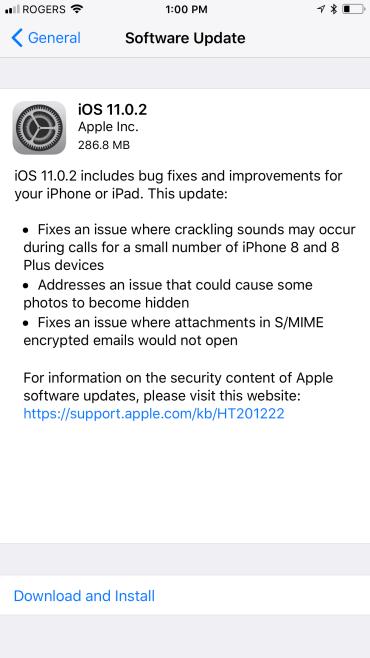 ios 11 0 2 update iOS 11.0.2 llega para corregir errores en el iPhone 8