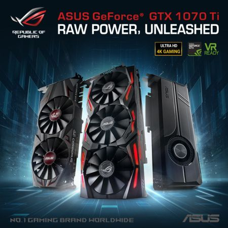 ASUS anuncia la serie de tarjetas de Video Gaming GeForce GTX 1070 Ti