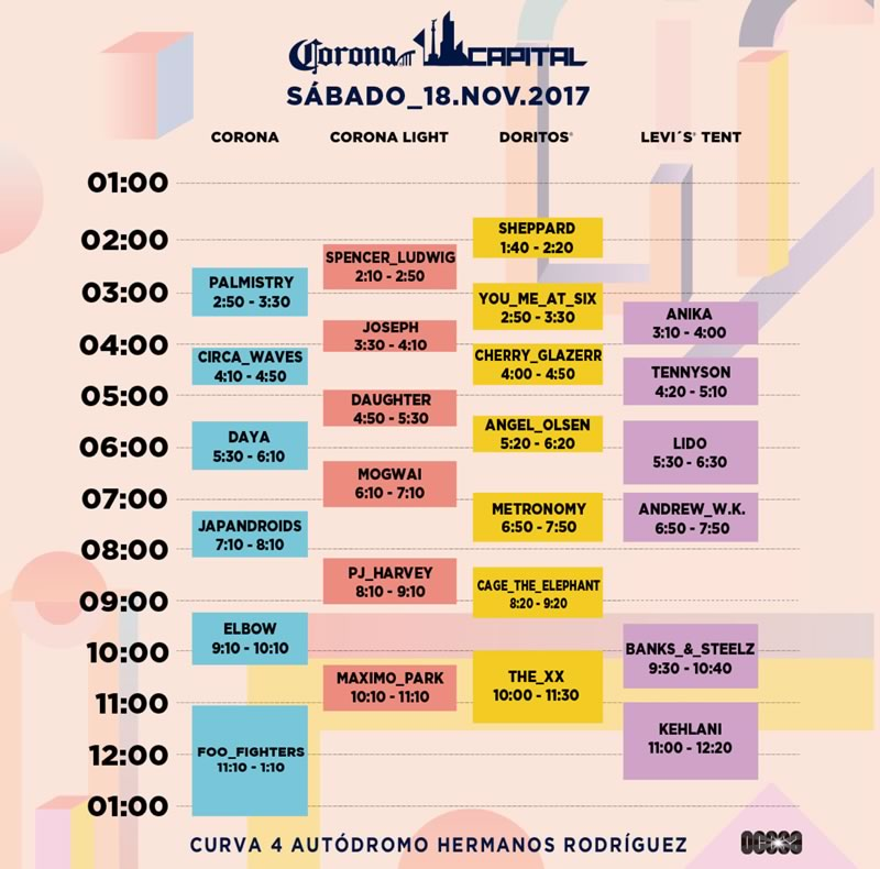 Corona Capital 2017, 18 y 19 de noviembre ¡En vivo por internet! - horario-corona-capital-2017-sabado-800x790