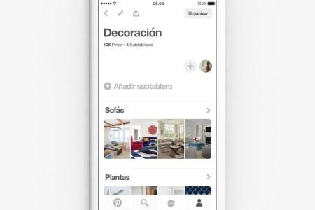 Pinterest lanza subtableros, una nueva forma de organizar tus Pins