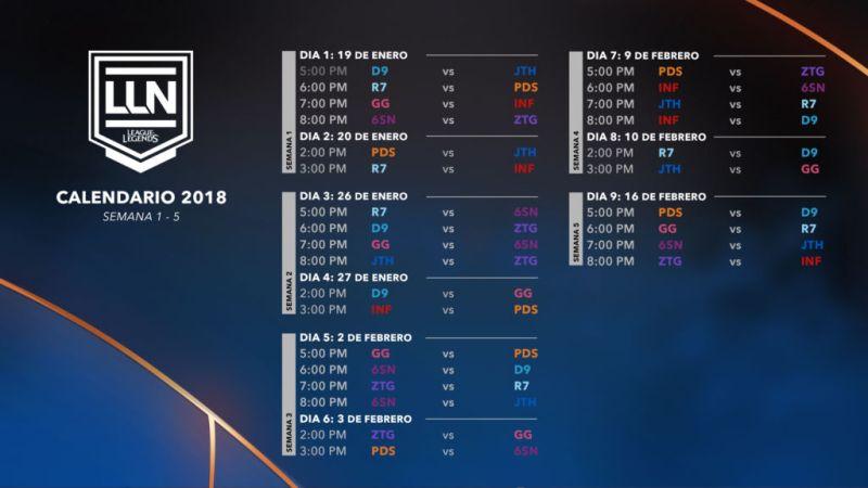 calendario de partidos de la lln 2018 800x450 Calendario de partidos de la LLN 2018
