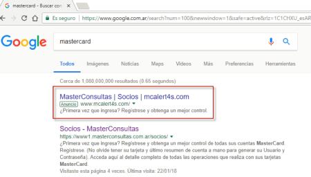 Advierte sobre un nuevo engaño vinculado a MasterCard en los anuncios de Google