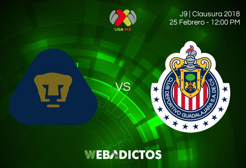 Ver a Pumas vs Chivas este 25 de febrero; J8 Clausura 2018 - pumas-vs-chivas-clausura-2018-j9