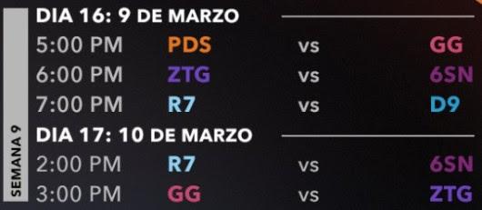Resumen semana 8 del Torneo LLN Apertura 2018 de League of Legends - calendario-de-la-semana-9-de-la-lln