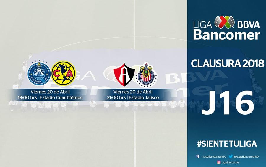 Jornada 16 de Liga MX Clausura 2018: Horarios y cómo ver los partidos - puebla-vs-america-atlas-vs-chivas-j16-c2018