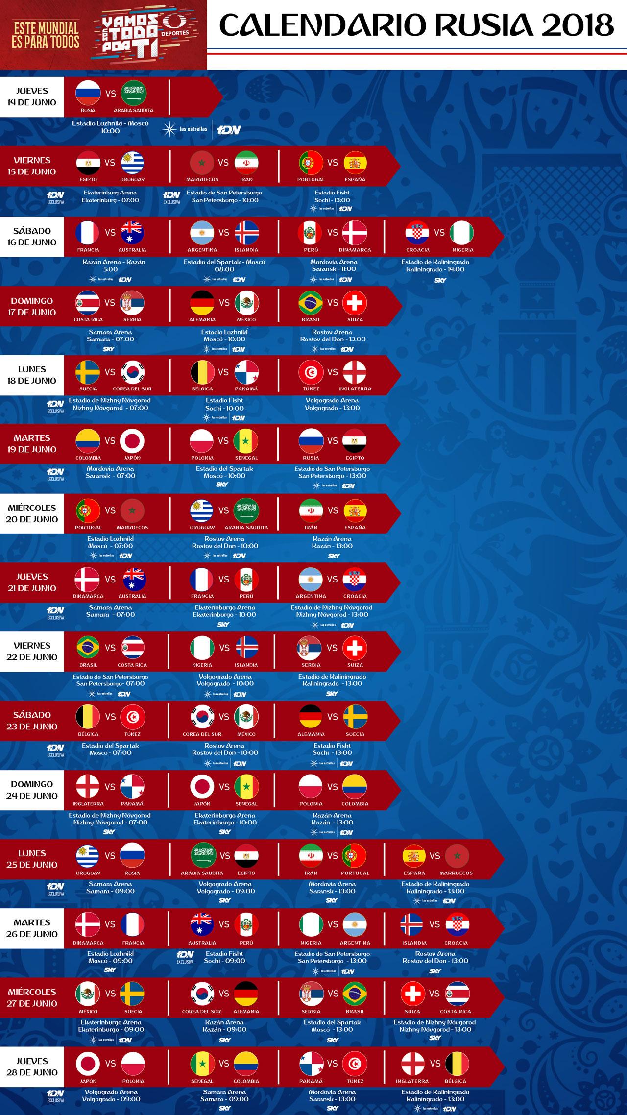 Partidos del Mundial Rusia 2018 que pasará Televisa Deportes - partidos-del-mundial-televisa