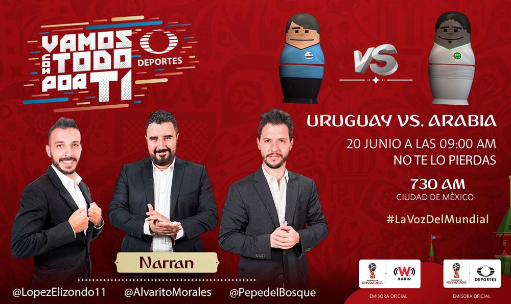 Uruguay vs Arabia Saudita, Mundial 2018 ¡En vivo por internet!   Grupo A - uruguay-vs-arabia-saudita-por-radio-2018