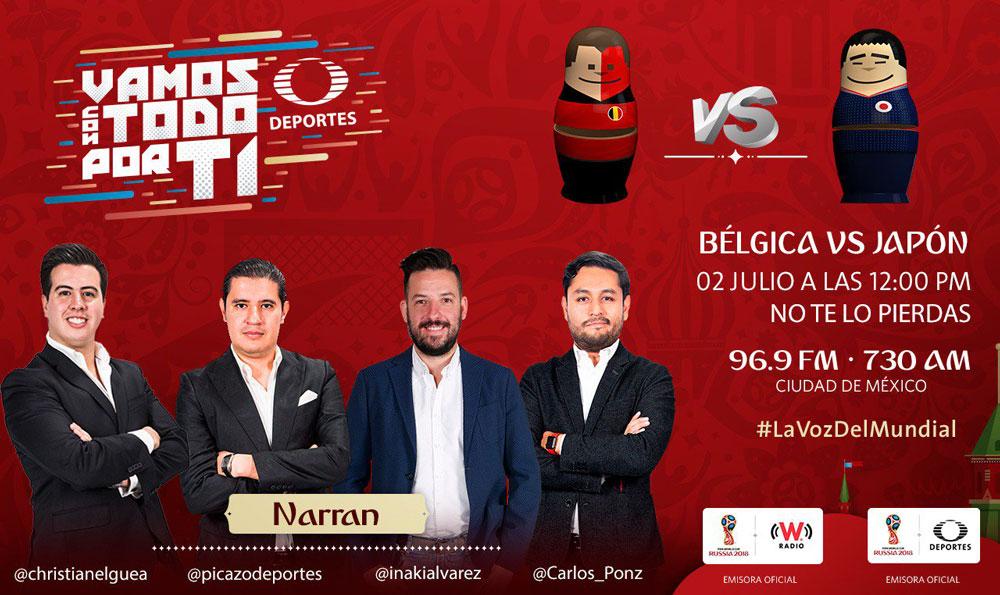 Bélgica vs Japón, Octavos del Mundial 2018 ¡En vivo por internet! - belgica-vs-japon-por-radio