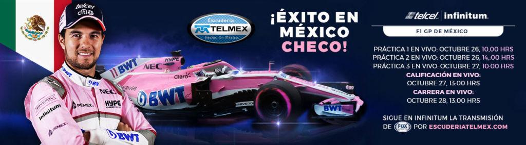 Formula 1 Gran Premio de México 2018 por internet en Escudería Telmex ¡gratis! - checo-peres-f1-gran-premio-de-mexico-2018