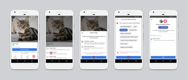 Facebook Marketplace cumple dos años y lanza nuevas funciones de Inteligencia Artificial - facebook-marketplace-reporting-summary-800x342