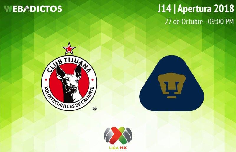 Tijuana vs Pumas, Jornada 14 del A2018 ¡En vivo por internet! - xolos-tijuana-vs-pumas-a2018