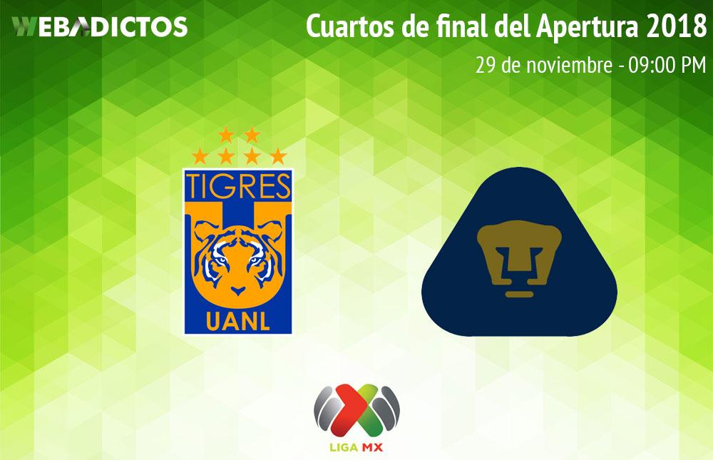 Tigres vs Pumas, Liguilla del Apertura 2018 ¡En vivo por internet! - tigres-vs-pumas-liguilla-apertura-2018