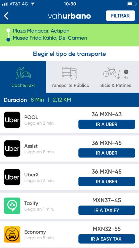 App VAH, compara los servicios de transporte y te dará la opción más rápida y menos costosa - app-vah_2-450x800
