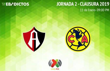 Atlas vs América, Jornada 2 C2019 ¡En vivo por internet!